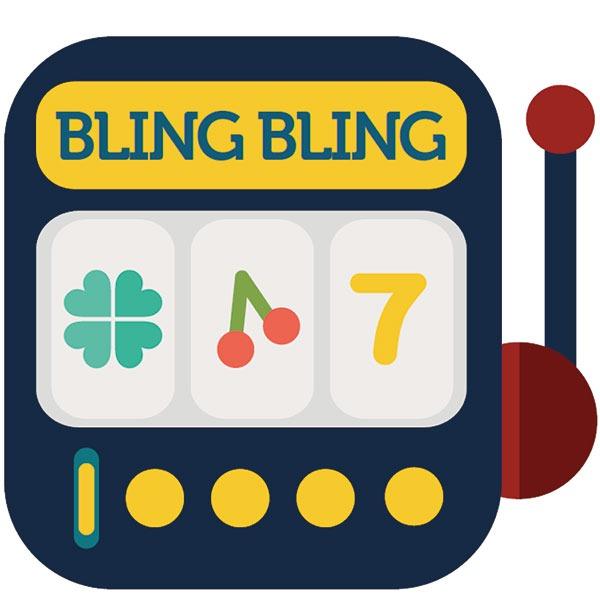 """Das Bild zeigt das Logo von """"BlingBling"""", dargestellt in einem Spielautomaten."""