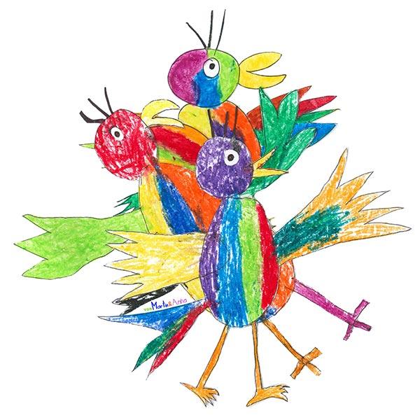 drei bunt angemalte Vögel sind übereinander gestapelt, Kinderzeichnungen