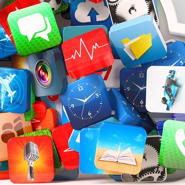 Viele kleine App-Symbole übereinander