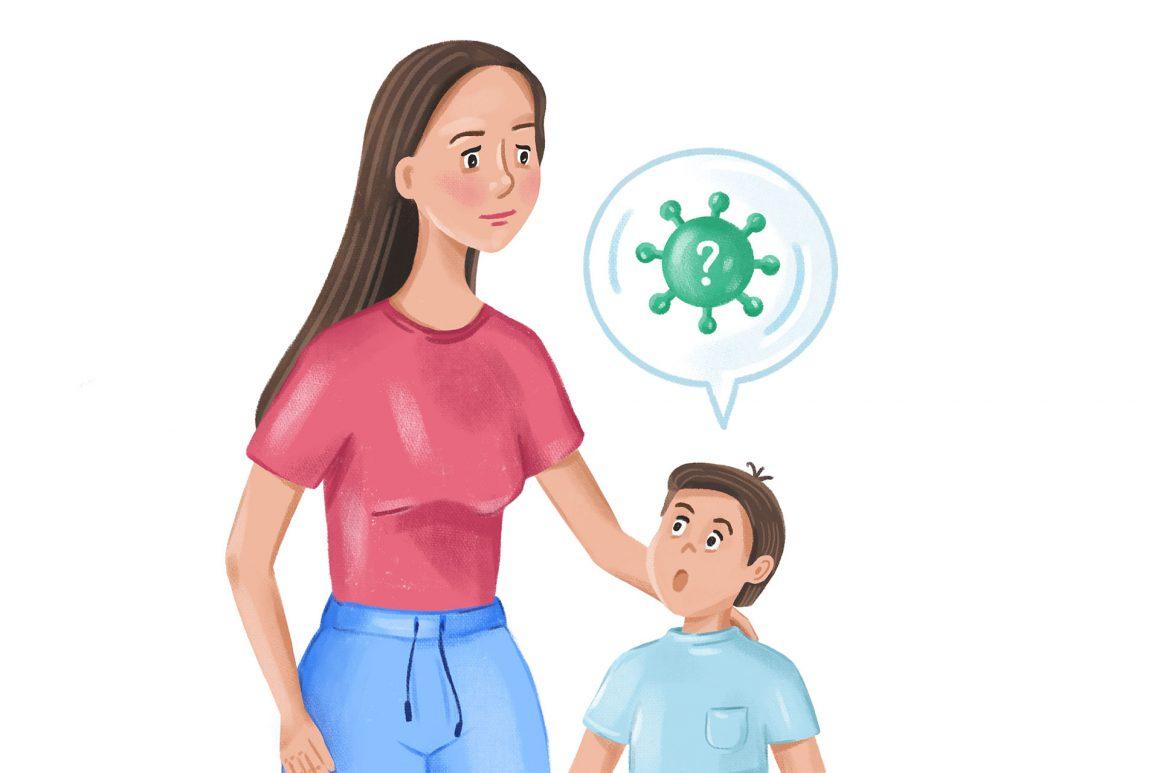 Illustration eines KIndes, das seine Mutter über den Corona-Virus befragt.